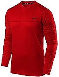 Camiseta para correr Element TCA con cuello redondo y mangas largas para hombres, hombre, color High Risk Red, tamaño L