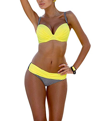 BOLAWOO-77 Damen Bandeau Padded Push Up Vintage Push Streifen Bikini Sets Up Bademode Badeanzug Frauen Badeanzug Mode Strand Swimsuit (Color : Gelb 2, Size : L)