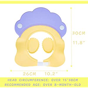HapiLeap Baby Kids Children Safe Shower Bath Wash Washing Hair Waterproof Sunshade Shield Cap Shampoo Visor Kids, Infant, Child, Baby Products bébé, nourrisson, Enfant - Color Randomly