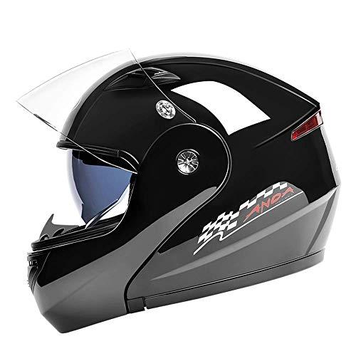 Lxhff Motorrad-Sturzhelm, CPSC Certified Mountain Road Klapphelm mit Schutzbrillen/Ersatz Futter, for Erwachsene Im Freien Sport (Color : Brightblack)