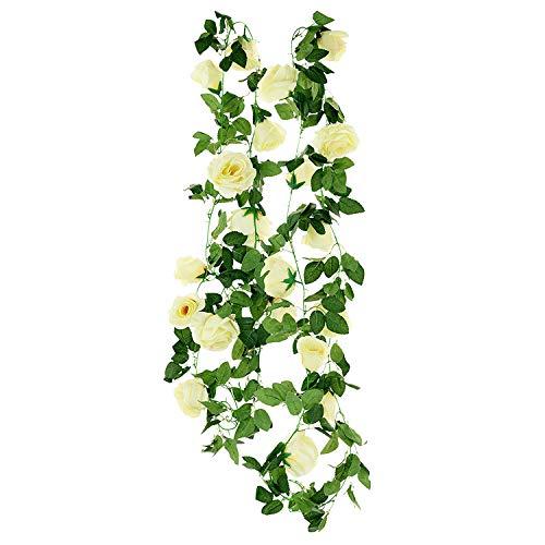 Anjing 2 Stück künstliche Seiden-Rosen Girlande Rankenpflanze Blumen Blätter perfekt für Wanddekoration Hochzeit Brautschmuck