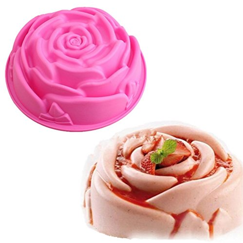 Cupcinu 3D Rose Silikonform DIY Gum Candy Schokoladenform Fondant Kuchenform, Farbe Zufällig