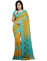 Wooden Tant Handloom Weaving Block Print Soft Cotton Saree In Yellow And Aqua Blue