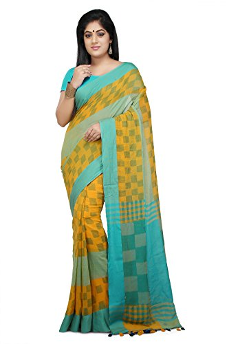 Wooden Tant handloom weaving block print Soft Cotton Saree in Yellow and...