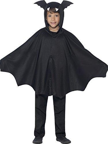 (MÄDCHEN JUNGEN MIT KAPUZE FLEDERMAUS Schwarz geflügelter Umhang Tier Halloween Kostüm 4-12 Jahre - Schwarz, 8-12 years)