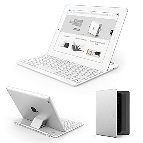 Anker Ultra-Thin Deutsche Bluetooth Tastatur Keyboard Case / Cover für Apple iPad 4 / 3 / 2 - Smart Cover mit eingebauter 800mAh Li-ion Batterie (Weiß)