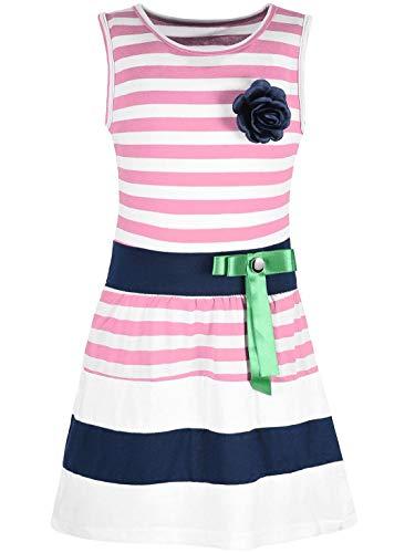 Kmisso Mädchen Kleid Kinder-Kleider Sommer-Kleid Ärmellos Gestreift Schleife 30049 Rosa 152
