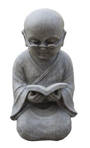 Figur Shaolin Mönch lesend mit Buch - für Haus und Garten - Höhe 42 cm - grau