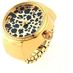 "Gleader Gold Tone Round Metal Leopard Pocket Finger Ring Watch 0.87"" HOT"