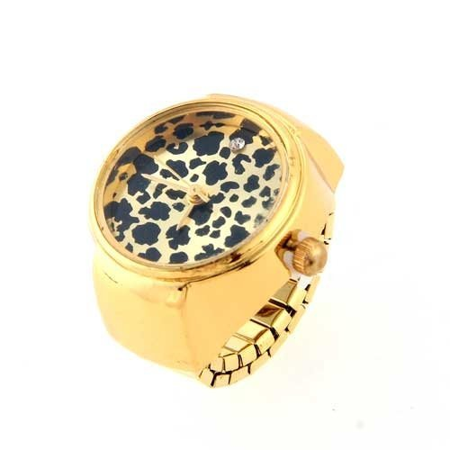 Rund-Ringuhr-Finger-Uhr-Fingeruhr-Uhrenring-Leopard-Gold-TOP