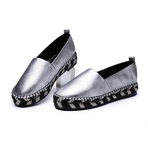 Damen Slipper Plateau Geflochten Slip on Rundzehen Lässig Klassisch Rutschhemmend Atmungsaktiv Einfach Modisch Freizeit Loafer Silber