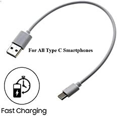 CellwallPRO Short Length Type C to USB Charging with Data Sync Power Bank Cable for All Smart Phones