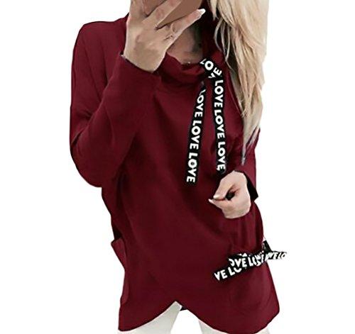 HX fashion Felpa Donna Sportiva Manica Lunga Collo Alto Sciolto Irregolare Asimmetrico Elegante Vintage Stampa Di Lettere Autunnali Invernale Casual Felpe Pullover Sweat Shirts Tops Rossi