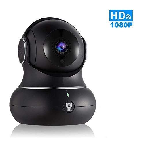 Telecamera ip full hd 1080p littlelf, wireless monitor 350° pan e 105° inclinazione controllata a distanza dai applicazioni, 3d telecamera panoramico, sorveglianza a distanza bambino e animali 1080p nero