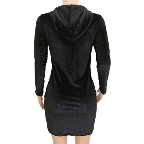 Vestito donna, Rcool Sexy Abito a maniche lunghe con maniche a maniche lunghe a righe da donna Nero
