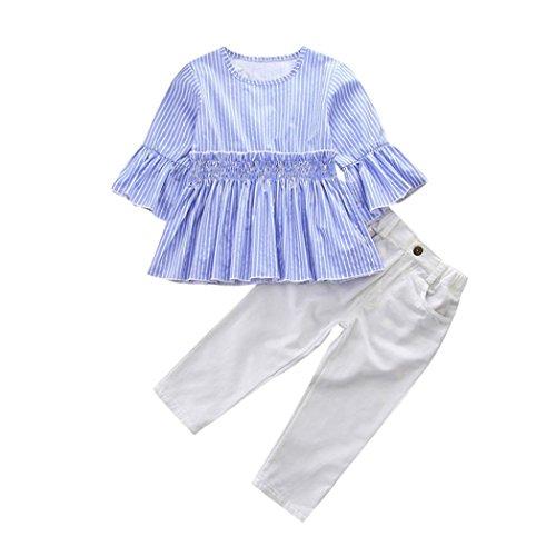 Babykleidung Mädchen 3/4 Arm Blusen Shirt Crop Tops mit Volant + Jeans Denim Hosen Kinderbekleidung Streetwear Kleider Set Kinder Kleidung Sommer Outfits (0-6T) Longra (Blue, 100CM 2Jahre) (Denim Armee)