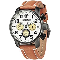 Timberland Men's Mascoma Quartz Watch with Beige Dial Chronograph Display and Brown Leather Strap 14439JSU/14