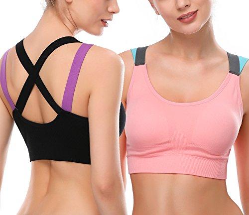 DAFUNNA Damen Sport BH starker Halt Ohne Bügel Komfort Bustier Yoga Run BH Push up Fitness-Training