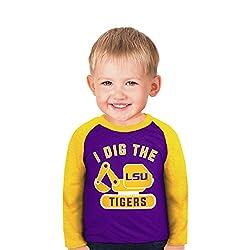 NCAA Lsu Tigers Boys Toddler Digger Raglan, 2 Tall, Purple