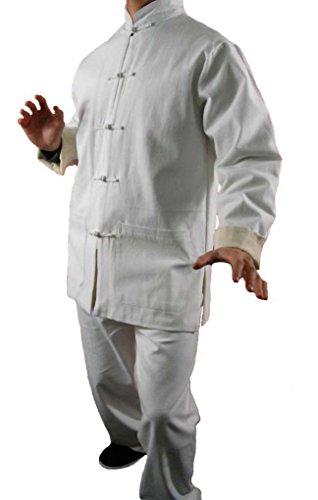 Handgemachte Weißer Reinleinen Kung Fu Tai Chi Anzug Von Maßschneider #114