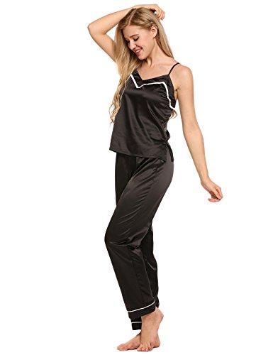 ADOME Damen Schlafanzug Hausanzug Satin Verstellbarer Träger Ärmellos V-Ausschnitt Tops mit elastischen Taille Hosen Pyjamas Sets Schwarz