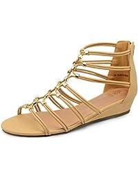tresmode Women's Gladiator Wedge Heel Zipper Sandals with Straps and Golden beeds on top