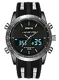 Orologio da polso da uomo, digitale, sportivo, militare, impermeabile, analogico, cronometro, resistente agli urti, con retroilluminazione a LED