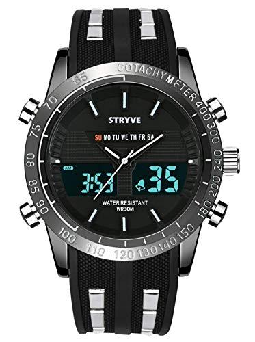 Reloj Deportivo Digital para Hombre Militar Big Face Impermeable Reloj analógico Cronómetro Army Shock...
