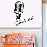 Qqasd Retro Vinyl Wandtattoo Mikrofon Karaoke Club Schild Logo Aufkleber Wohnkultur Wohnzimmer Schlafzimmer Vinyl Kunstwand 42X54 Cm