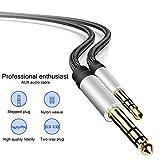 Cavo Audio Stereo Jack AUX 3,5mm a 6,35mm TRS , per Collegare Smartphone, Tablet, PC con Altoparlante, Amplificatore, Mixer Audio, Chitarra, 1M Nylon