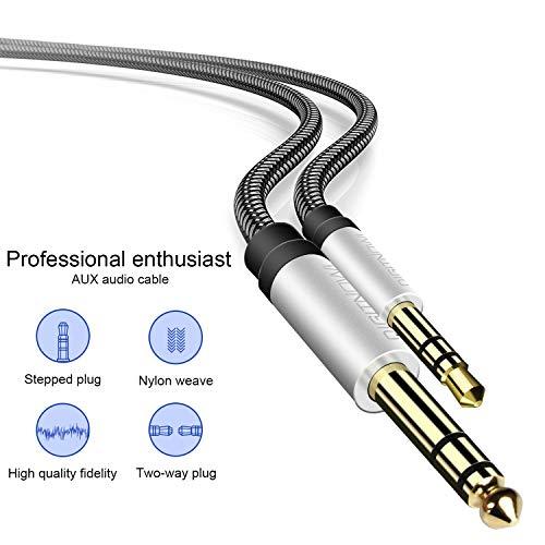 Cable Audio Estéreo HiFi 3,5mm a 6,3mm Macho a Macho con Trenza Nylon para Smartphone Guitarras Amplificadores Mesas de Mezclas PC Tablets Cine en Casa Altavoces ,1M