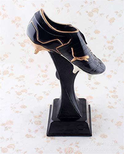 XiYunHan Bewegung Harz Crafts Series Dekoration Bright Schwarz Soccer Shoes Kreative Geometrische Art Halterung Harz Skulptur Produkt Gedenken Home Wohnzimmer Desktop-Anordnung Display-Ständer
