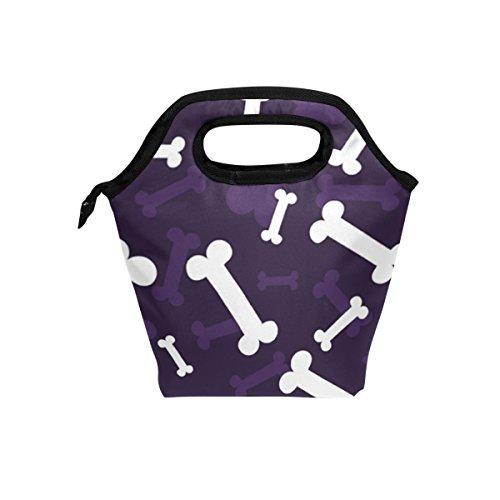 COOSUN Halloween-Knochen-Muster-Mittagessen-Taschen-Tasche Isolier-Cooler-Mittagessen-Beutel Wasserdichte Neopren-Mittagessen-Handtaschen Tote mit Reißverschluss für Outdoor-Reise Picknick Groß Mult