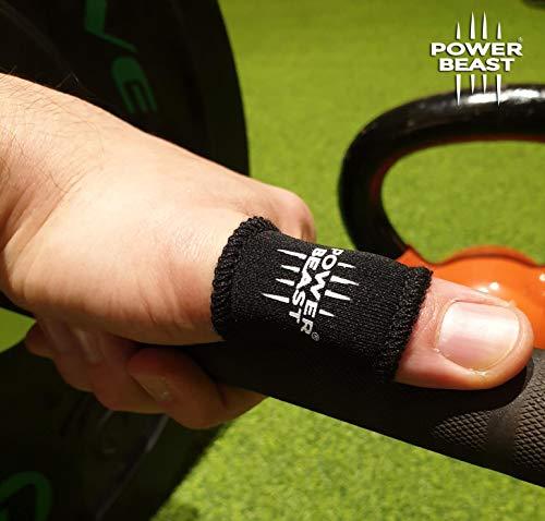 Power Beast Fingerschutz | Gewichte, Crossfit, Fitnessstudio, Fitness, Calisthenics, Gewichtheben, Dominiert | Ersatz für Tape, Bandagen am Daumen | 1 Paar + Tasche (M) (Gewichtheben Gewicht Zu Verlieren)