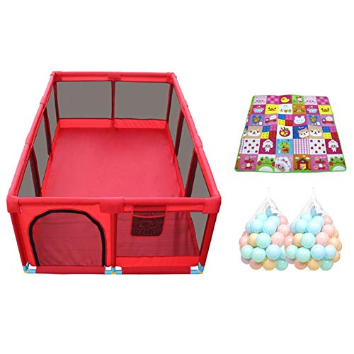 LBYMYB Playpens 10 Panel Large Kinder Antikollisionsspiel Zaun Portable Twin Krabbeln/Ball Pool Kinderschutz (Color : Playpen+mat+100ball) -