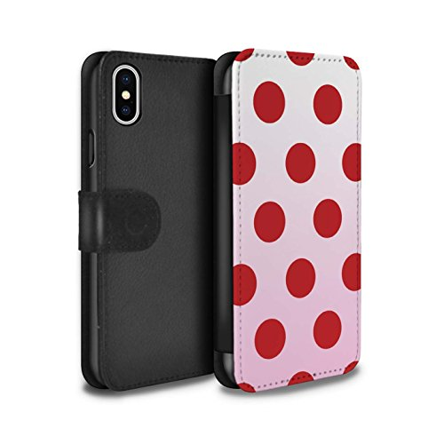 STUFF4 PU-Leder Hülle/Case/Tasche/Cover für Apple iPhone 4/4S / Leuchtende Sterne Muster / Ombre Muster Kollektion Rote Punkte