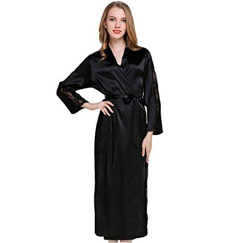 Casa Albornoz Mujer Largos Kimono Batas Baño, Kimono Bata de Satén Kimono Del Cordón Bata de baño...