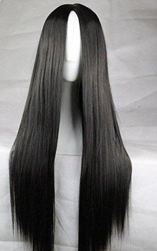 Schwarze Perücke Halloween (Langhaarperücke, glattes Haar, für Cosplay, hitzefest, 75cm)