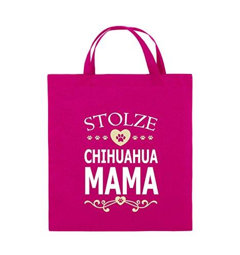 Comedy Bags - Stolze Chihuahua Mama - HERZ - Jutebeutel - kurze Henkel - 38x42cm - Farbe: Schwarz / Weiss-Neongrün Pink / Rosa-Weiss-Beige
