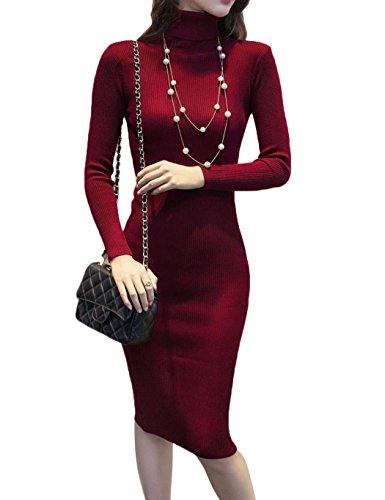 Keland Damen Langes Strickkleid mit Rollkragen Casual Langarm Bodycon Bleistift Pullover Kleid