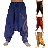 Men Casual Harem Pants Summer Yoga Baggy Aladdin Hippie Spiral Print Trousers - Blue XXXL