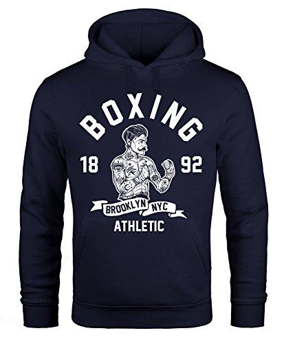 Hoodie Herren Retro Vintage Boxer Boxen Kapuzen-Pullover Männer Neverless® Boxer navy