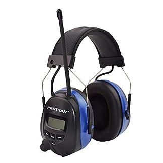 Orejeras de seguridad eléctricas recargables con Bluetooth, Radio digital FM / AM y micrófono incorporado, Protear Auriculares de reducción de ruido con llamadas manos libres, SNR 30dB