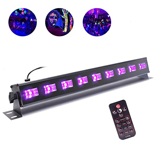 U`King Schwarzlicht LED mit 9 X 3 W UV LED Bar mit Fernbedienung und DMX Steuerung für DJ Disco Bühnenbeleuchtung Karneval Party Lichter
