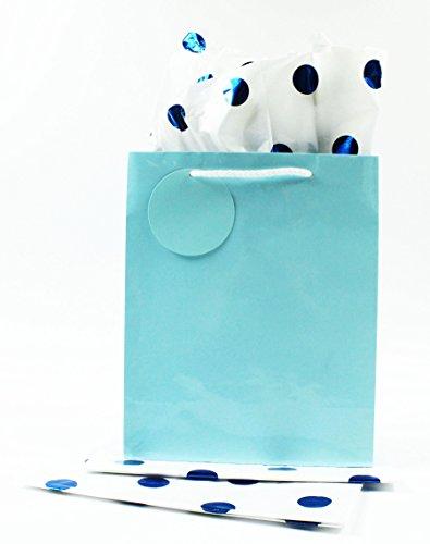 3Weiß Blau Metallic Folie gepunktet Seidenpapier Blatt Geschenkpapier (Pom Poms Metallic-rosa)