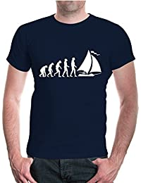 buXsbaum® Herren Unisex Kurzarm T-Shirt bedruckt The Evolution of Sailing | Segeln Segler Segelsport