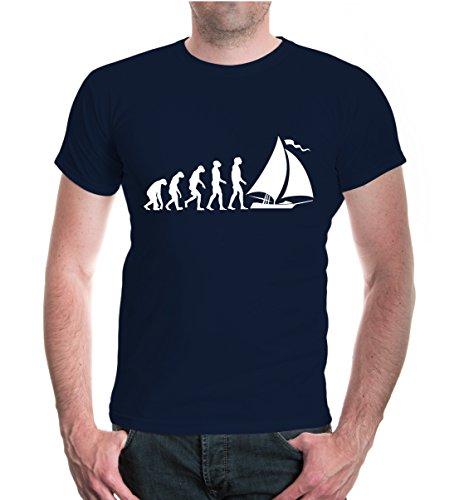 ex Kurzarm T-Shirt Bedruckt The Evolution of Sailing | Segeln Segler Segelsport | XL Navy-White Blau ()
