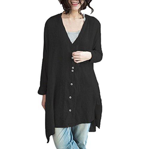 Sanfashion bekleidung camicia - con bottoni - tinta unita - collo a v - manica lunga - donna nero 46 eu