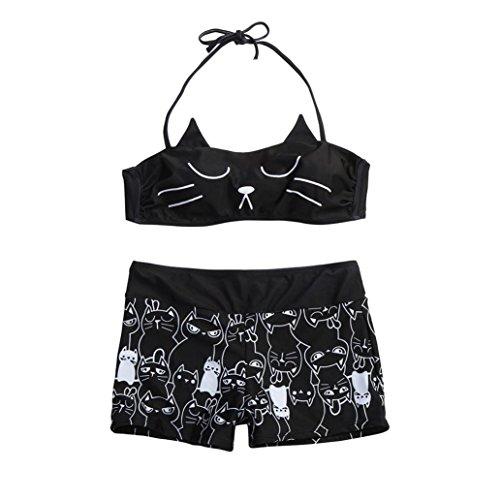 QinMM Conjunto de Bikini Estampado Gato Mujer