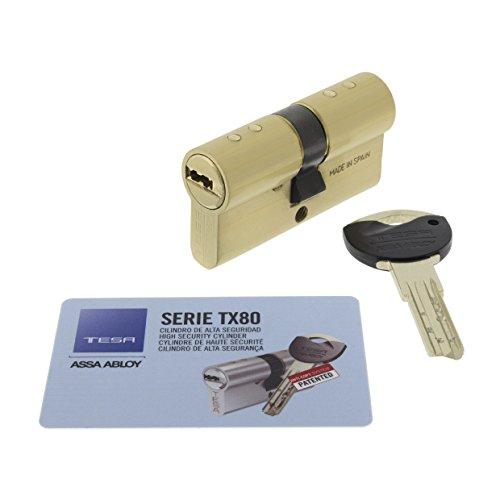 Tesa Assa Abloy, TX853030L, Cilindro TX80 de leva larga, Latonado, 30x30 mm